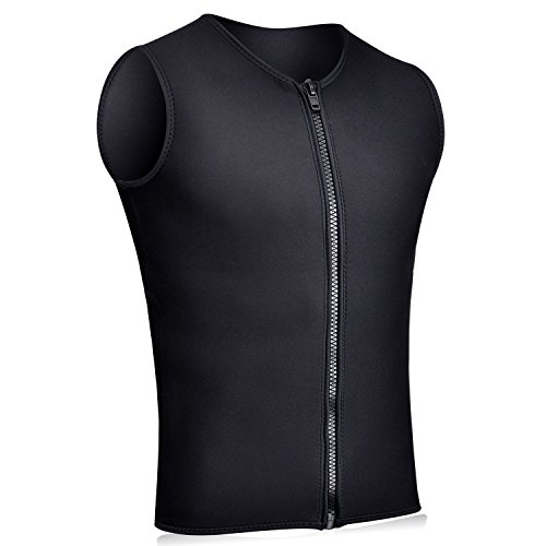 Realon Wetsuits Top Jacket Vest Mens Women 2mm Neoprene Long Sleeve/3mm Sleeveless Shirt Front Zip Sports XSPAN for Scuba Diving Surf Swimming Snorkel Suit (3mm Vest Men/Black, L)