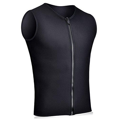 REALON Wetsuits Top Jacket Vest Mens Women 2mm Neoprene Long Sleeve/3mm Sleeveless Shirt Front Zip Sports XSPAN for Scuba Diving Surf Swimming Snorkel Suit (3mm Vest Men/Black, L)