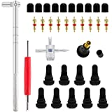 ZHSMS Tyre Valve Stem Puller Tools Set with 10 Pcs TR412 Snap-in Valve Stems with Valve Stem Cores, 1 Pcs Dual Single Head Valve Core Remover 1 Pcs 4-Way Valve Tool