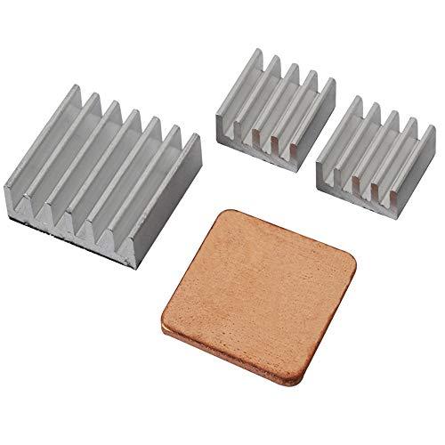 UCEC KühlkörperAluminium, 3er Set Kühlrippen in verschiedenen Größen mit 1 Kupfer-Pad, für Raspberry Pi 3 Model B Raspberry pi 2 Model B zum Aufkleben