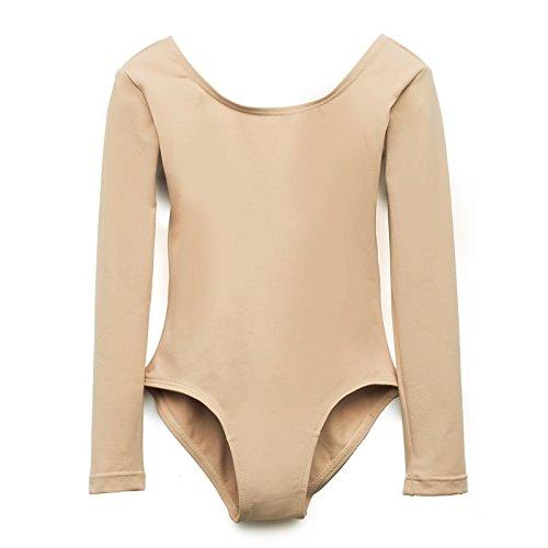 Elowel Girls' Team Basics Long Sleeve Leotard Nude (Size 4-6)