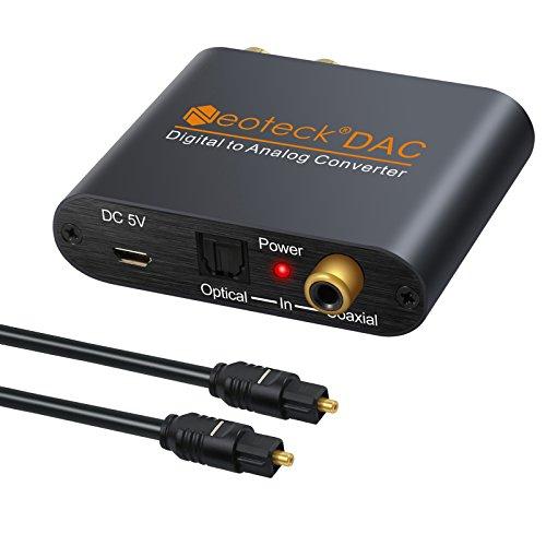 Neoteck 192kHz DAC Convertidor Digital SPDIF Coaxial Toslink a Analágico,Óptico a RCA,3.5mm Jack Audio Convertidor con Cable Óptical Alimentación para PS3/4 HD Sky HD Plasma Blu-ray Home Cine Sistema