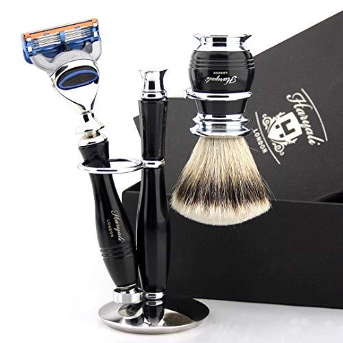 Premium Silver tip dak scheerpenseel & Fusion compatibele scheermessen luxe greep - nat scheerset voor hem - cadeauset