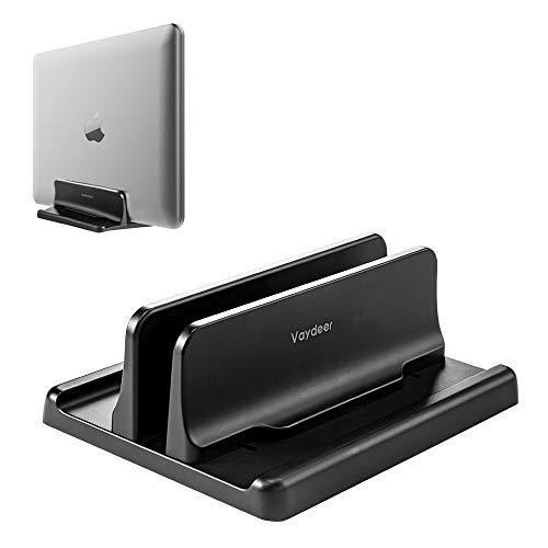 VAYDEER Vertikaler Laptop Ständer Halter Verstellbarer Desktop Notebook Dock Platzsparend 3 in 1 für MacBook Pro Air, Mac, HP, Dell, Microsoft Surface, Lenovo, bis zu 17,3 Zoll, Schwarz