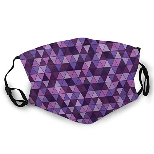 Triangle Grid Pattern Mosaic Tile In Lavender Plum Purple Amethyst Tones Of Color,Dust Washable Reusable Filter and Mouth Warm Windproof Cotton Face
