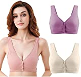 Sports Bras for Women Post-Surgical Bra Cotton-Blend Multipurpose with Front Closure Wirefree 3 Pack (42BC) Nude