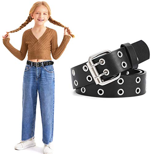 Kids Double Grommet Belts With Holes for Girls Boys PU Leather Two Row Grommet Waist Belt for Jeans Dress, Black, Suit for Waist Size below 31 Inches
