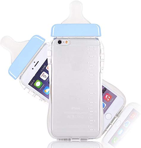 Qingsun Woman Macaron Color Milk Baby Bottle Cute 3D TPU Soft Baby Bottle Clear Case Lanyard Case Cover for Apple iPhone iPhone 6 6S 4.7 Inch(Blue)