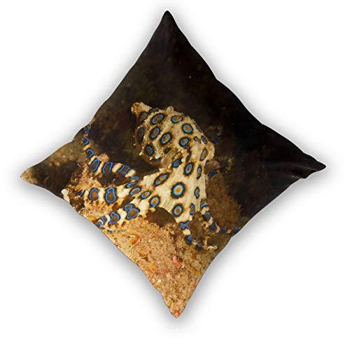 AXEDENRRT 3D Print Throw Pillow Cover Case,Blue Ring Octopus,Modern Pillowcase for Sofa Couch Bed Car Set Home Decor 22'x 22' Pillowcase Cushion Covers Zipper 2pcs