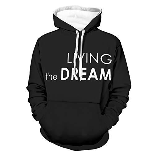 Sudadera con capucha para hombre con estampado de Living The Dream, manga larga, con bolsillos Negro XXXXXL