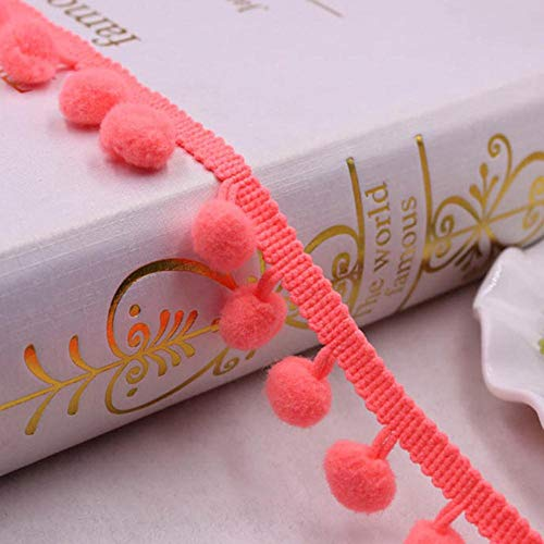 10 Yards Pom Pom Lace Trim Ball 10 mm MINI Pearl Pompom Fringe Ribbon naaien Lace Kintted stof handgemaakte DIY Craft accessoires, watermeloen rood