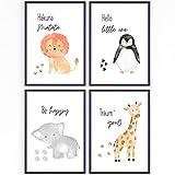 muuki® |4er Poster Set Wildlife Kinderzimmer Wandbilder
