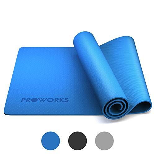 Alfombra de yoga Proworks, antideslizante, 6 mm, TPE ejercicio y entrenamiento de fitness, con correa de transporte, para yoga, ejercicio en casa, gimnasia y pilates 183 x 58 x 0,6 cm, color azul