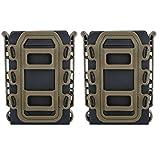 【TERA】5.56 7.62 マグポーチ マガジンポーチ MOLLE モール 対応 オープントップ M4 AK48 マガジンタクティカル ミリタリー サバゲ― 2本セット (BK&TAN)