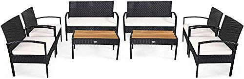 YRRA 4 Piezas Patio Muebles de ratán Conjunto Conjuntos de conversación al Aire Libre con Silla y Sillón y Acacia Sólido Mesa de Centro de Madera Alta Resiliencia Esponja Marco Estable Ideal-2_Blanco