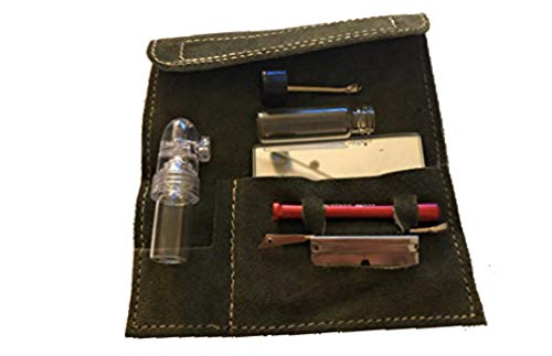 M&M Smartek Set di 7 pezzi per tabacco da fiuto con specchio, 2 dosatori, bacchette, tubi per tabacco da fiuto (khaki)