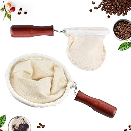 4 Filtros de Café de Tela Reutilizable Hecho a Mano con Mango...