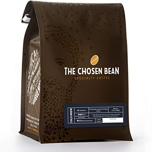 The Chosen Bean Cold Brew Coffee, Organic Freshly Roasted Coarse Ground Beans, 12 Ounce