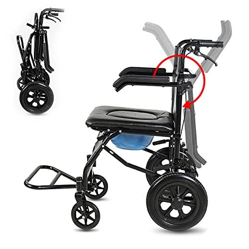 Fahrbarer Toilettenstühle, Leichter rollender Duschstuhl, Multifunktionaler Pflegerollstuhl Höhenverstellbarer mit Gepolstertem Toilettensitz für Behinderte und Senioren