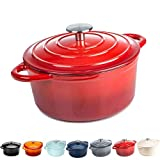 Round Casserole Dish - Cast Iron Ceramic Induction and Gas Safe Dutch Oven Roasting Cooker - with Lid - 10 Year Gurantee (2.7L Casserole, Red)