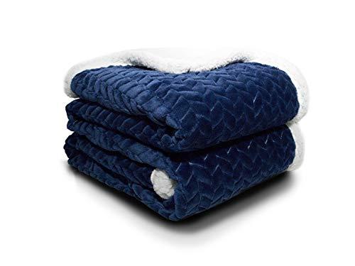 ATRAVIMO® Decke Kuscheldecke Wohndecke in Blau | Home & Living Blanket Sofadecke Comfort Plus mit weichem Lammfell und Microfaser, durch hohe Dichte 280g/m² warm und flauschig 150x200cm