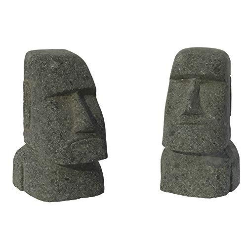 STONE art & more 2er Set Moai, Osterinsel-Kopf, grüner Lavastein, Basanit, Steinmetzarbeit, frostfest (15 cm)