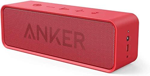 Anker SoundCore Bluetooth Lautsprecher, Tragbarer Lautsprecher mit unglaublicher 24 Stunden Akkulaufzeit und 6W Dual-Treiber, reinem Bass und eingebautem Mikrofon für iPhone, Galaxy usw. (Rot)