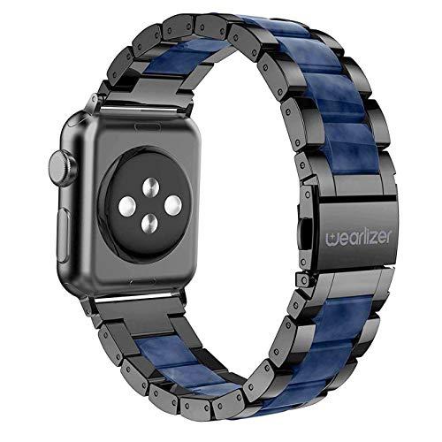 Wearlizer für Apple Watch Armband 42mm 44mm, Edelstahl Metall Harz iWatch Straps Ersatzband Uhrenarmband Wristband für iWatch Serie 5 Serie 4 Serie 3 2 1 - Schwarz