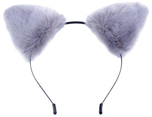 La vogue Haarreif mit Katzenohren Plüsch+Metall Haarbänder Kopfband Kostüm Zubehör 9 * 9cm (Grau)