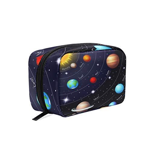 Mnsruu Trousse de maquillage portable avec système solaire Motif galaxie