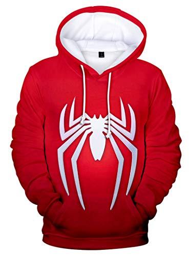 Silver Basic Sudadera con Capucha Spiderman Fashion 3D de Manga Larga para Hombre Rojo-2 S