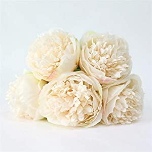 TRRT Fake Plants Artificial Flowers Silk Flower Peony Dahlias Bouquet, Wedding Bridal Bouquets Decoration Fake Flower