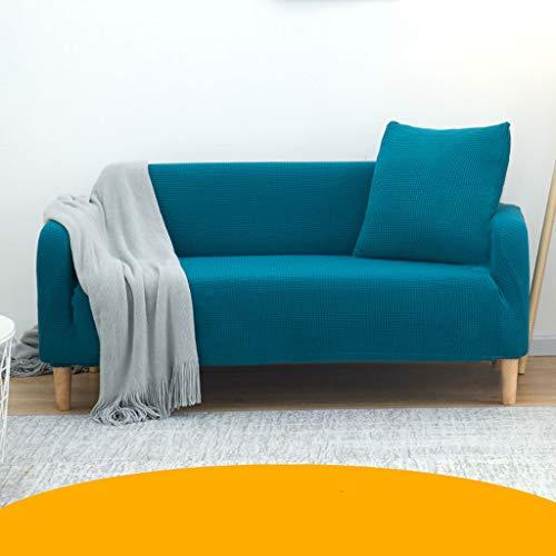 Jacquard-bankovertrek, jacquard, bankovertrek, rekbaar, met armleuningen, sofaovertrek, decoratie voor woonkamer (grijs, blauw)