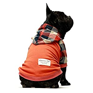 Fitwarm Dog Plaid Shirts Doggie Clothes Puppy Hoodies Cat Hooded T Shirts Pet Outfits Cotton Orange Large