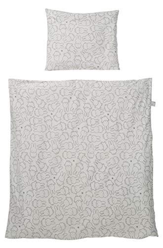 Roba Parure de lit pour bébé en Jersey de Coton 100 % Doux et Douillet Motif Miffy Housse de Couette 80 x 80 cm et taie d'oreiller 35 x 40 cm Gris