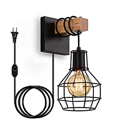 SUNVP Wall Sconce Light Wooden Metal Wall Light Fixture Industrial Vintage Decorate Wall Lamp for Farmhouse Living Room Bedroom Corridor,Not Included Bulbs(1 Pack)