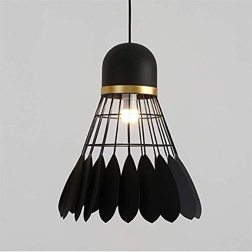 BBZZ Lámpara de araña de bádminton simple restaurante creativo, bar cafetería, hierro forjado, lámpara de techo de una sola cabeza (color blanco)