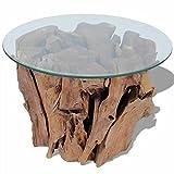 Solid Teak Driftwood Coffee Table Glass Table Top Living Room Side Tea