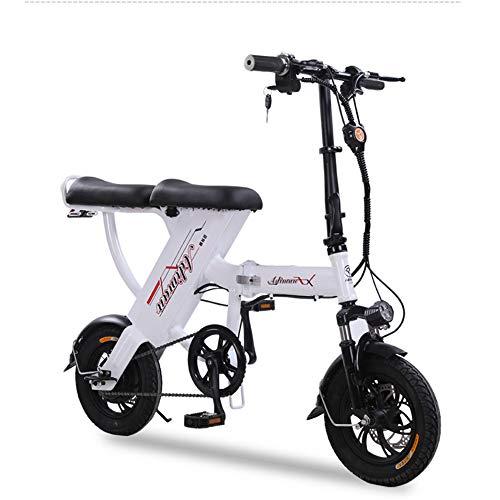 ONLYXKZ Bicicleta eléctrica, Plegable, batería de Litio para Adultos, con batería de Iones de Litio extraíble, antirrobo Mediante Mando a Distancia, Color Blanco, tamaño 20A