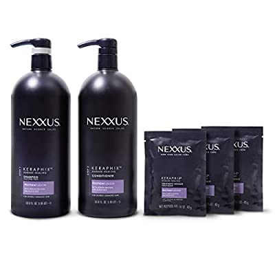 Nexxus Keraphix Shampoo and Conditioner and 3 Hair Treatment Masks for Damaged Hair, Hair Repair Treatment System Damaged Hair Repair Treatment System