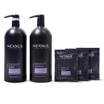 Nexxus Keraphix Shampoo and Conditioner + Repair Treatment Masks for Damaged Hair Black 33.8 Oz 2 Count + 1.5 Oz 3 Count