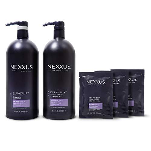 Nexxus Keraphix Shampoo and Conditioner + Repair Treatment Masks for Damaged Hair, Black, 33.8 Oz, 2 Count + 1.5 Oz, 3 Count
