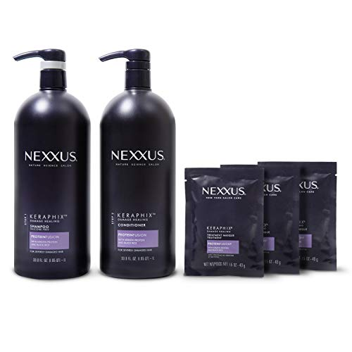 Nexxus Keraphix Shampoo and Conditioner and 3 Hair Treatment Masks for Damaged Hair, Hair Repair Treatment System Damaged Hair Repair Treatment System 33.8 oz, 2 count & 1.5 oz, 3 count, Pack of 5