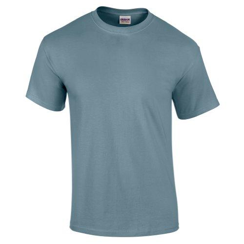 Gildan - Camiseta básica de manga corta Modelo Ultra Cotton para hombre caballero (Grande (L)/Azul piedra)