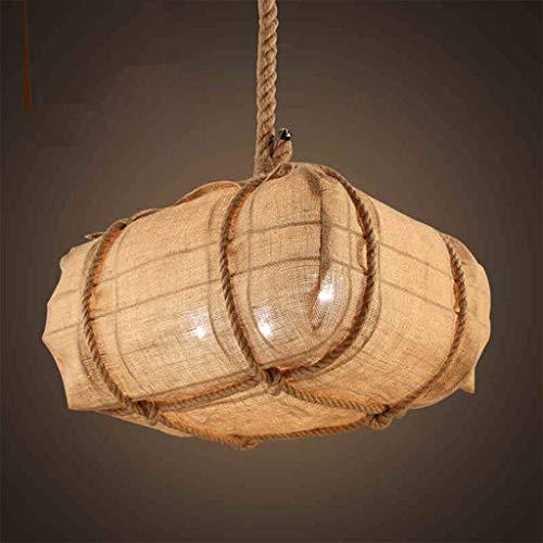 FFF-Iluminación de Techo Interior Restaurante Lámpara Colgante Lámpara de Una Sola Cabeza Lámpara de Lino Hecha A Mano Iluminación de la Sala de Estudio Nivel de energía 【A ++】