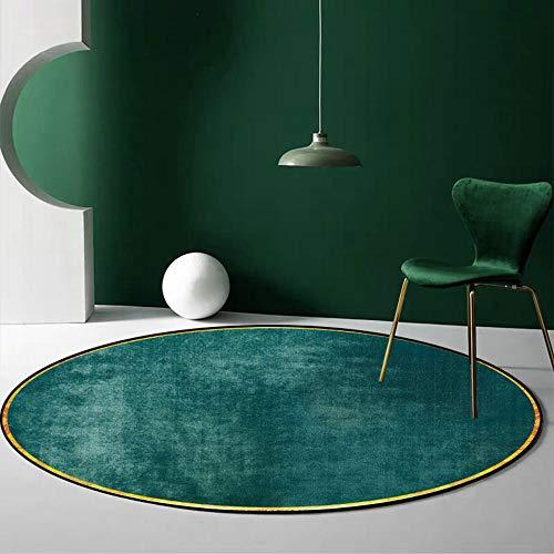 Tapis Rond Vert foncé Style Chic Moderne Doux Lavable, pour Salon Chambre vestiaire Cuisine Chaise Tapis Enfants Chambre noël Vacances Cadeau-Diamètre 160CM