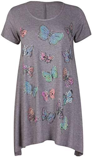 DF Limited Damen-Oberteil mit Schmetterlings-Aufdruck, Uneven Einstecksaum, Perlen, Glitzer, Größe 42-56 Gr. 48-50, hellgrau