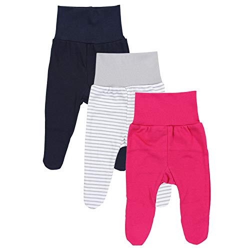 TupTam Baby Mädchen Strampelhose mit Fuß 3er Pack, Farbe: Farbenmix 1, Größe: 68