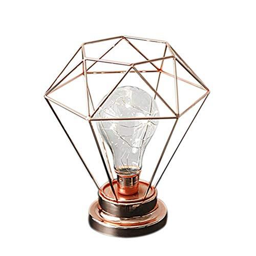 Shengy Diamond Iron tafellamp, Edison Style metalen terrarium tafellamp met op batterijen werkende decoratieve verlichting voor slaapkamer, woonkamer, bar, hotel