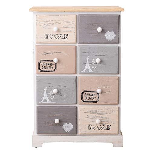 Rebecca Mobili Flurschrank Mehrzweckkommode 8 Schubladen für Schlafzimmer, Paulownienholz, Vintage-Stil – Maße: 70 x 48 x 29 cm(HxLxB) – Art. RE4484